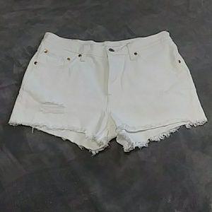 White medium high waist  shorts!
